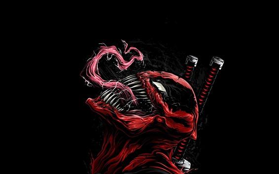 Обои Venom, супергерой, художественная картина, чёрный фон