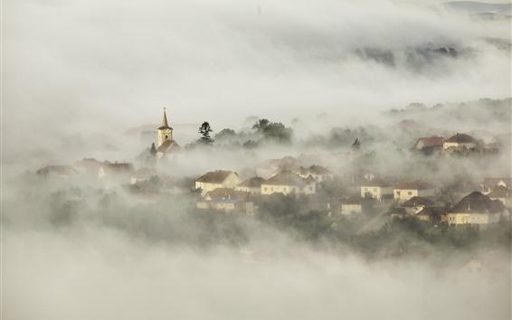 Обои Деревня, дома, туман, рассвет