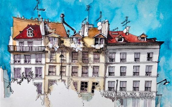 Fond d'écran Aquarelle, Paris, maisons