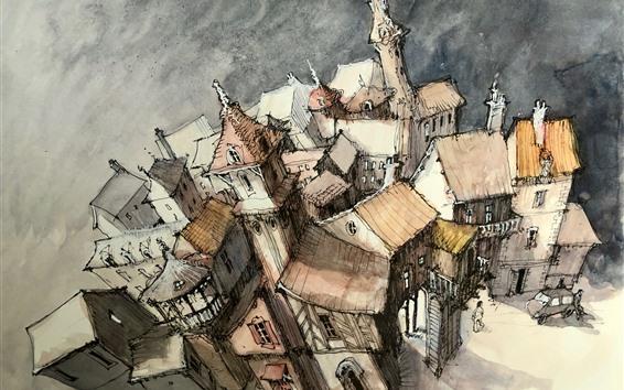 壁紙 水彩画、都市、住宅、トップビュー
