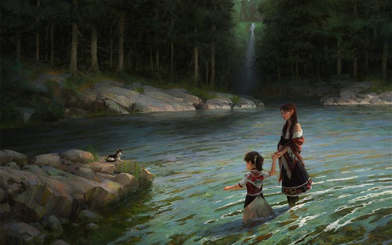 Wallpaper Art painting, little girl and her mother, pond, cat, trees
