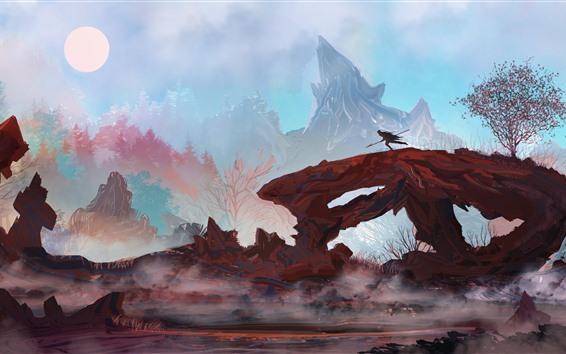 Fond d'écran Photo d'art, homme, montagnes, arbres, soleil, courir