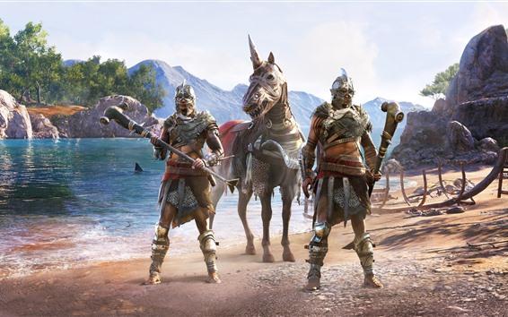 Обои Assassin's Creed: Одиссея, конь, озеро