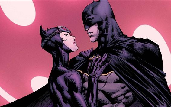 Fondos de pantalla Batman y Catwoman, héroes del cómic de DC