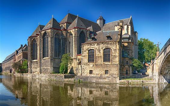Wallpaper Belgium, Ghent, houses, river