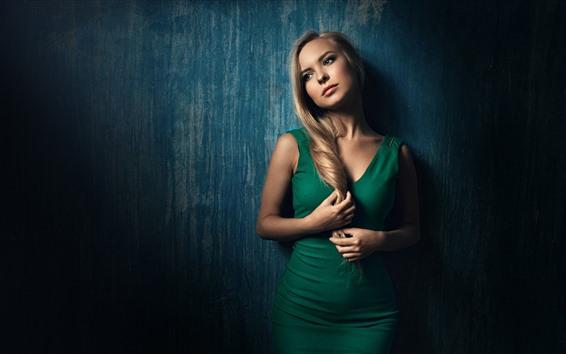Wallpaper Blonde girl, green skirt, thinking