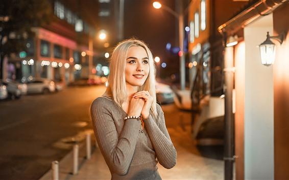 Wallpaper Blonde girl, smile, night, lights, city