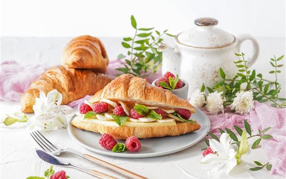 배경 화면 아침 식사, 치즈, 크루아상, 라스베리, 꽃