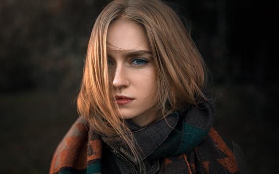 Обои Каштановые волосы девушки, прическа, голубые глаза, лицо
