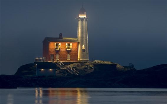 Обои Канада, колвуд, маяк, ночь, огни, море