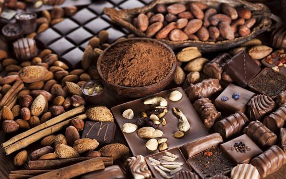 Fond d'écran Chocolat, noix, poudre, bonbons