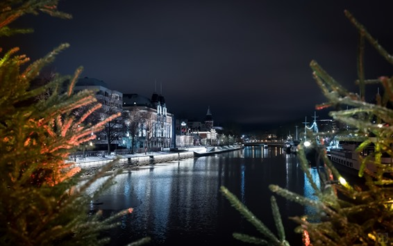 Wallpaper City, river, houses, lights, twigs, night