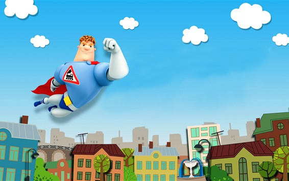 배경 화면 도시, 슈퍼맨, 만화