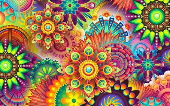 Wallpaper Colorful flowers, abstract design picture