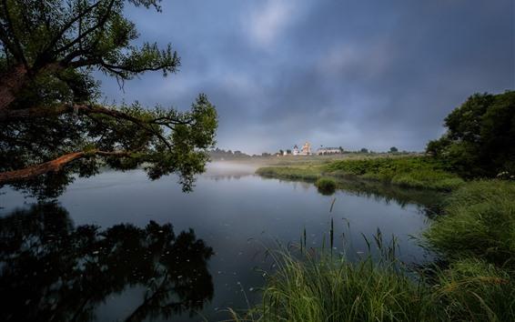 Fondos de pantalla Campo, lago, juncos, árboles, casas, niebla, mañana