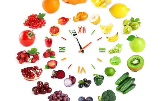 Wallpaper Creative clock, vegetables and fruit, white background