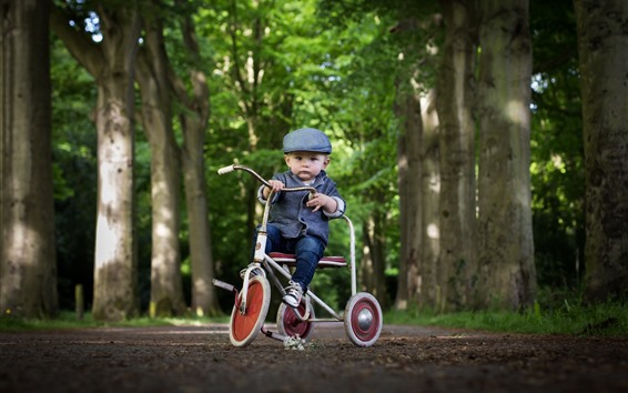 Wallpaper Cute little boy, child, toy bike