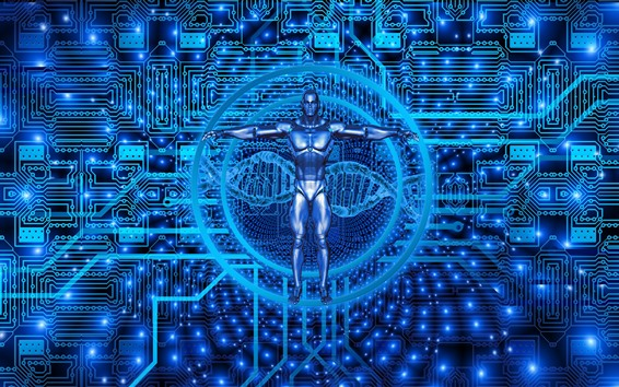 Wallpaper Cyborg, biotechnology, blue style, creative picture