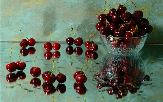 Wallpaper Delicious cherries, fruit, bowl, glass