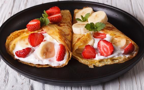 Wallpaper Delicious food rolls, strawberries, banana