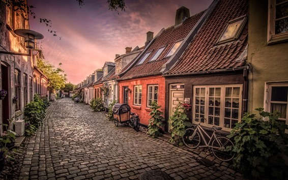Fond d'écran Danemark, Aarhus, vélo, maisons, rue