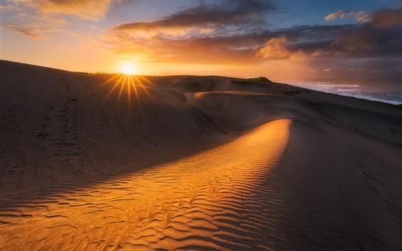 배경 화면 사막, 모래 언덕, 구름, 일몰, 열