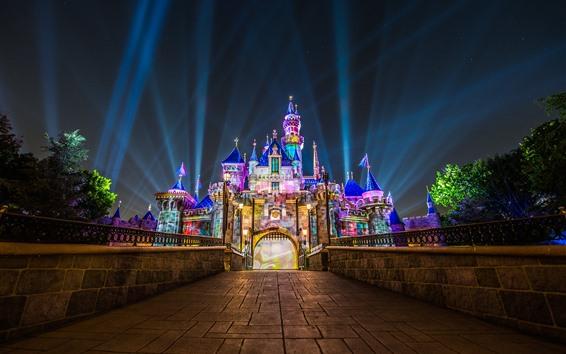 Papéis de Parede Disneyland, Califórnia, EUA, luzes coloridas, castelo, noite
