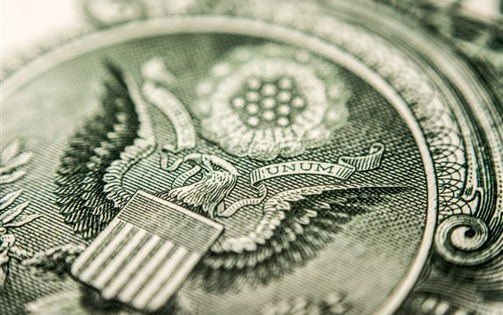 Wallpaper Dollar, currency macro photography, eagle pattern