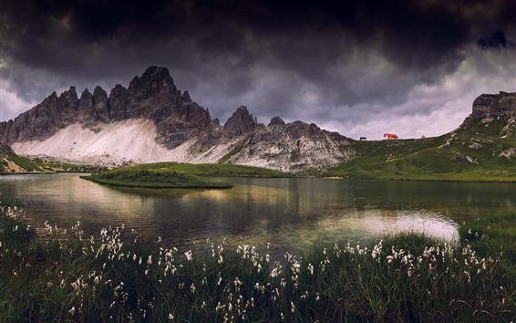Fond d'écran Dolomites, montagnes, lac