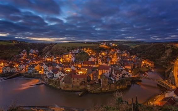 Wallpaper England, North Yorkshire, village, night, houses, lights, river