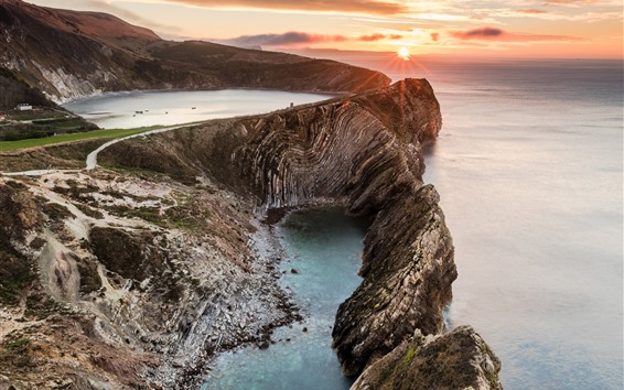Wallpaper England, Stair Hole, west of Lulworth, sea, clouds, sunset