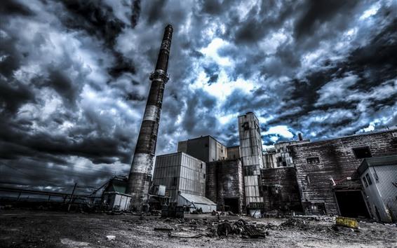 Papéis de Parede Fábrica, tubulação, nuvens