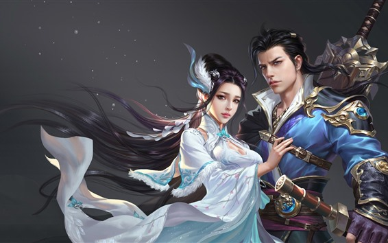 Wallpaper Fantasy Chinese girl and boy, art picture