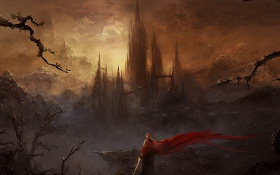Fondos de pantalla Mundo de fantasía, fotografía artística, castillo, rascacielos, montañas, espada, persona