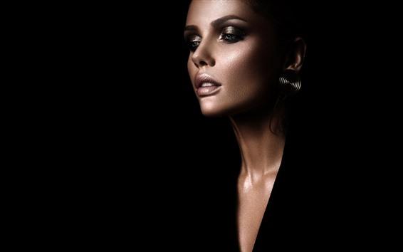 Wallpaper Fashion girl, makeup, black background