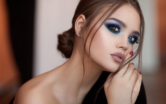 Wallpaper Fashion girl, makeup, face, pose