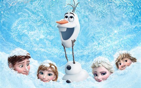 Wallpaper Frozen, thick snow, Cartoon movie