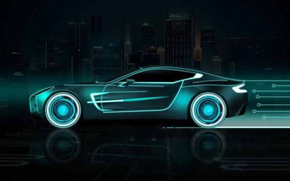 Wallpaper Future car, speed, neon, creative design