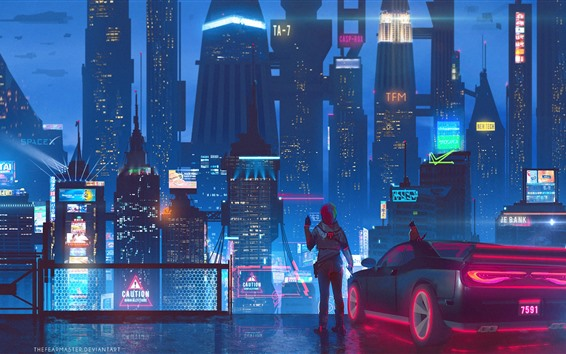 Papéis de Parede Cidade do futuro, arranha-céus, luzes, noite, garota, imagens de arte