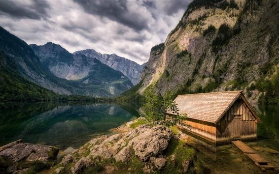 Wallpaper Germany, Bavaria, mountains, lake, house
