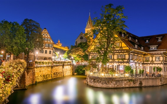 Wallpaper Germany, Esslingen, river, houses, trees, night, lights