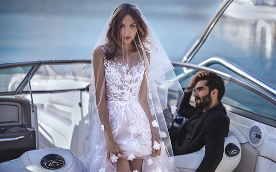 Wallpaper Girl, bride, white skirt, wedding