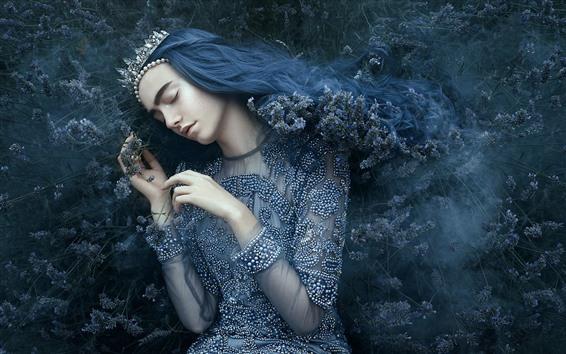 壁紙 眠っている少女、王冠、王女