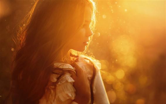 Wallpaper Girl, sun rays, hairstyle, warm, hazy