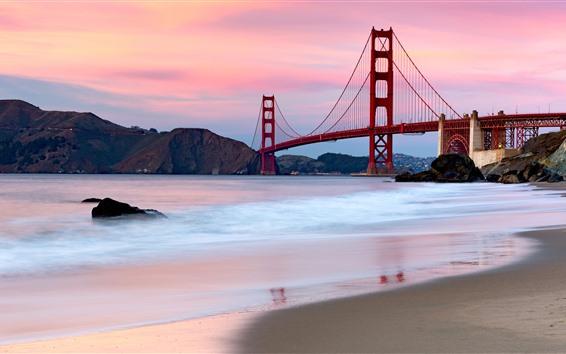 Обои Мост Золотые Ворота, Сан-Франциско, США, река, пляж, горы