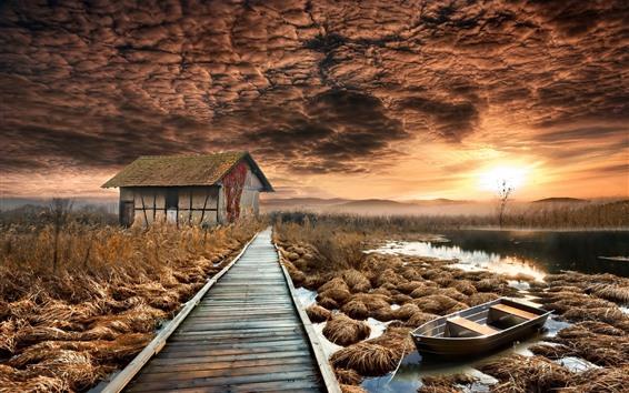 Fond d'écran Maison, sentier en bois, lac, arbres, automne, coucher de soleil