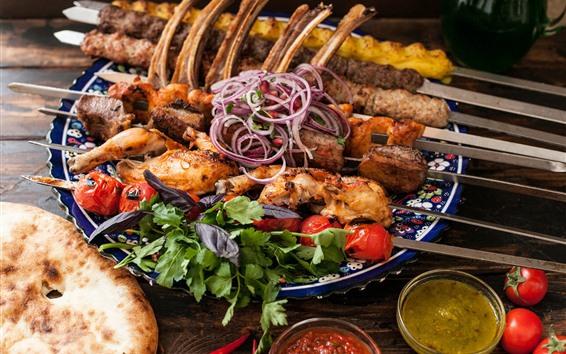 Fond d'écran Kebab, viande, nourriture, oignon