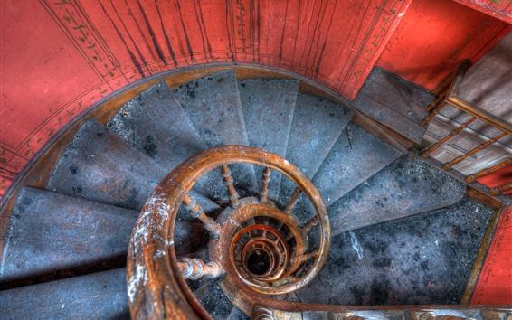 Papéis de Parede Escada, escadas, espiral, poeira
