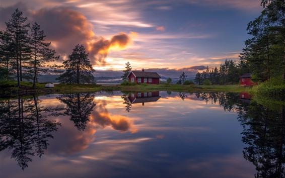 Обои Озеро, дом, деревья, отражение воды, облака, закат