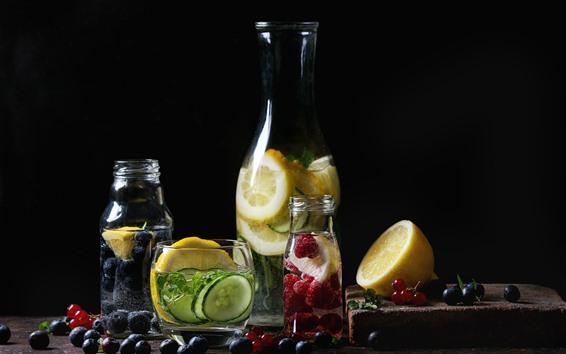 Papéis de Parede Limonada, bebidas, mirtilo, limão, framboesa, garrafas
